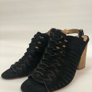 Lucky Brand Woven Black Leather Heels